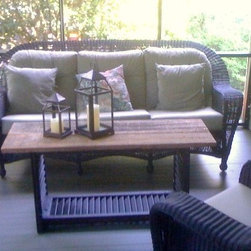 Original design coffee table made from antique architecturals - Original design from antique shutters and reclaimed cypress