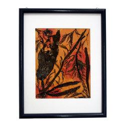 "Ocean Wonder, Oshibana Art - Oshibana (pressed plants) artwork with double mats in a 12"" x 15"" black frame."