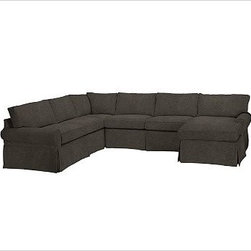 """PB Basic Left 4-Piece Chaise Sectional Slipcover, Velvet Dark Heather Gray - Designed exclusively for our PB Basic Sectional, these easy-care slipcovers have a casual drape, retain their smooth fit, and remove easily for cleaning. Select """"Living Room"""" in our {{link path='http://potterybarn.icovia.com/icovia.aspx' class='popup' width='900' height='700'}}Room Planner{{/link}} to select a configuration that's ideal for your space. This item can also be customized with your choice of over {{link path='pages/popups/fab_leather_popup.html' class='popup' width='720' height='800'}}80 custom fabrics and colors{{/link}}. For details and pricing on custom fabrics, please call us at 1.800.840.3658 or click Live Help. All slipcover fabrics are hand selected for softness, quality and durability. {{link path='pages/popups/sectionalsheet.html' class='popup' width='720' height='800'}}Left-arm or right-arm configuration{{/link}} is determined by the location of the arm on the love seat as you face the piece. This is a special-order item and ships directly from the manufacturer. To view our order and return policy, click on the Shipping Info tab above."""