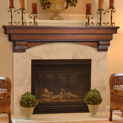 "Auburn Fireplace Mantel Shelf - The tiered Auburn fireplace Mantel Shelf is made from solid wood and features a deep 8"" shelf to display, photos, mantel clocks and curios."