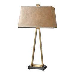 Uttermost - Akadia Coffee Bronze Table Lamp - Tired of trends? This marvelous metal table lamp makes a smart and stylish statement that you'll enjoy for many years to come. The simple geometric base is tastefully accented by a silken shade.