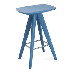 Bryght - Petite White Counter Stool, Blue - Form and function unite in the Petite collection to offer you wonderfully vibrant pops of color. Add these Scandi style counter stools to create a youthful ambiance.