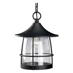 Progress Lighting - Progress Lighting Prairie Transitional Outdoor Hanging Lantern X-17-3655P - This Progress Lighting Prairie transitional outdoor hanging lantern has an interesting design. Notice the shape of the clear seeded glass that's encased by the wire frame in a gilded iron finish. The canopy adds to the visual interest of this piece, which is one that's sure to cast a welcoming glow of light in any outdoor space.