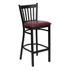 Flash Furniture - Hercules Series Black Vertical Back Metal Restaurant Bar Stool Burgundy Seat - This heavy duty commercial metal bar stool is ideal for Restaurants, Hotels, Bars, Pool Halls, Lounges, and in the Home. The lightweight design of the stool makes it easy to move around. The tubular foot rest not only supports your feet, but acts as an additional reinforcement that helps secure the legs. This stool will keep you comfortable with the easy to clean vinyl upholstered seat. You will not regret the purchase of this bar stool that is sure to complement any environment to fill the void in your decor.