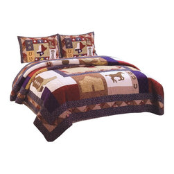 American Traditions - Texas Pride Twin Quilt and Sham - The great state of Texas inspires this classic country quilt. Patriotic in the with the red, white, and blue colors this quilt features icons of the lone star state like the Alamo, cowboy boots and oil rigs. This is a great quilt for making that wild west themed room or just bringing a fun quilt into a patriotic setting.