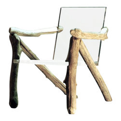 ecofirstart - Contemporary Organic Chair, Bare Bones - This invisa-chair marries modern design with timeless materials, creating an overall minimalist's dream of a chair. The sturdy driftwood frame acts as a physical companion to the otherworldly translucent seat. You'll be amazed by the versatility of this unique, ultramodern piece.