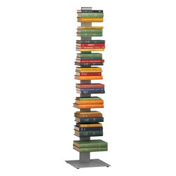 "Array Silver Bookcase | CB2 - This silver powdercoated version of Bruno Rainaldi's ingenious stacking bookshelf will give your books, CDs, and favorite objects a modern perch. Each shelf holds up to nine pounds. Dimensions: 14""sq.x60""H. Lightweight laser-cut steel with silver powdercoat."