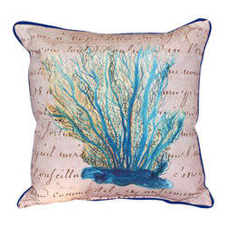 Betsy Drake - Betsy Drake Blue Coral Beige Pillow- Indoor/Outdoor - Blue Coral Beige Pillow- Large indoor/outdoor pillow. These versatile pillows are equal at enhancing your homes seaside decor and adding coastal charm to an outdoor setting arrangment. They feature printed outdoor, fade resistant fabric for years of wear and enjoyment. Solid back, polyfill. Proudly made in the USA.