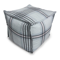 Comfort Research - Bean Bag Ottoman in Grey Gingham Plaid - Covered in durable polyester fabric & filled with polystyrene bean. Filled with ultimaX beans. Double-stitched and double-locking zippers. Warranty: 30 days. No assembly required. 20 in. L x 20 in. W x 17 in. H (4 lbs.)This Cube Ottoman can be used as a footrest, an extra seat or a beautiful accent. This pouf is made with French seams for that beautiful finishing touch.