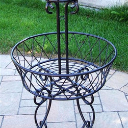Oakland Living - Two Tier Basket Planter in Black - Made of Durable Cast Iron Construction. Easy to follow assembly instructions and product care information. Stainless steel or brass assembly hardware. Fade, chip and crack resistant. 1 year limited. Lightweight and constructed of durable iron. Hardened powder coat finish in Black for years of beauty. Black finish. Some assembly required. 21 in. W x 21 in. L x 40 in. H (12 lbs.)This plant stand will be a beautiful addition to your patio, balcony or outdoor entertainment area. Our plant stands are perfect for any small space, or to accent a larger space.