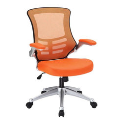 Modway - Attainment Office Chair in Orange - Taking you where you need when you need it most. The Attainment Office Chair is a form-fitting ergonomic chair made from the most revolutionary advances in seating today. The breathable mesh back is curved to assist back and shoulder posture, while the lower frame provides exemplary lumbar support. With flip up arms, and a waterfall padded leatherette seat, enjoy your work from a place of comprehensive comfort.