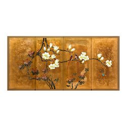 Oriental Furniture - Love Birds on Traditional Gold Leaf - This masterfully hand painted artwork depicts two love birds amidst flowers blooming in vivid color. Painted on silk with a hand-applied gold leaf background, this painting will bring the beauty of nature into your home.
