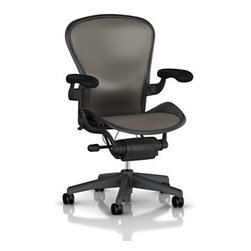 Herman Miller - Herman Miller Aeron Chair, Classic Lead, Small, Fully Adjustable Arms, No Lumbar - The Aeron chair is the most classic and identifiable ergonomic office chair that's ever been invented.  This chair re-defined what an office chair should do, how it should look, and how you should feel at your desk.  This chair's design is so forward-thinking, that it remains the go-to office chair, and even though it's been on the market for over a decade, other folks are still playing catch up.