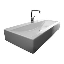"WS Bath Collections - LVR 41.8"" x 18.1"" Ceramic Bathroom Sink - LVR 106 by WS Bath Collections, Bathroom Ceramic Washbasin/ Sink, 41.1 x 18.1 Wall-Mount or Countertop Installation, with or without Faucet Hole, with Overflow, Made in Italy, Recommended Drain Linea 53995, Decorative Trap Linea 53922"