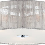 "Possini Euro Design - Possini Sheer Silver Fabric 16"" Flushmount Ceiling Light - This exciting contemporary flushmount ceiling light is perfect for a hallway or modern bedroom. The sides of this drum-shape fixture are constructed of silver fabric. A frosted white glass diffuser is attached via chrome finish hardware. Three lights inside produce plentiful illumination. From the Possini Euro Design lighting collection. Silver fabric drum. Frosted glass diffuser. Chrome hardware. Takes three 40 watt bulbs (not included). 16"" wide. 6 1/2"" high. Canopy is 4 3/4"" wide.  Silver fabric drum.   Frosted glass diffuser.    Chrome hardware.   By Possini Euro Design lighting.  Takes three 40 watt bulbs (not included).   16"" wide.  6 1/2"" high.  Canopy is 4 3/4"" wide."