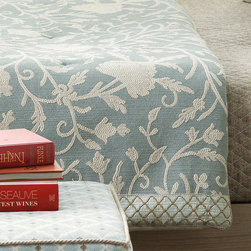 """Frontgate - Avila Coverlet - Reversible Coverlet is made from 55% linen, 45% cotton and features a decorative quilted pattern, edging welt finish, and 12"""" reverse top fold back. Bed Scarf and King/Standard Shams are made from 79% cotton, 15% polyester, 4% rayon, and 2% flax. Scarf features high-quality polyester batting, and is hand-tacked and corded along two sides. Shams and Shell Pillow include a high-quality polyester fiber fill pillow insert, and zipper closure for easy care. Due to the handcrafted nature of the hand-painted pillow, slight imperfections and inconsistencies may occur. Unwind in the Nantucket sun with Avila. Spa blue and sandy tones arouse memories of warm summer afternoons beachside. This soothing collection brings relaxed sophistication to any coastal-inspired decor. Complete the look with our Henna and Hand-painted Shell accent pillows.. . . . . Henna Pillow has a down insert and zipper closure for easy careDry clean . Because this bedding is specially made to order, please allow 4-6 weeks for delivery. Made in the USA."""
