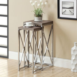 None - Dark Taupe Reclaimed-look Chrome Plant Stands (Set of 2) - Decorate your home with these attractive reclaimed-look plant stands. This plant stand features wood and metal construction for long-lasting good looks.