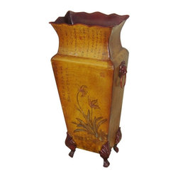 Oriental Unlimited Inc - Oriental Unlimited 16H in. Double Flower Mahogany and Elm Wood Vase Brown - FUZE - Shop for Decorative Bowls and Vases from Hayneedle.com! Oriental Unlimited 16H in. Double Flower Mahogany and Elm Wood Vase