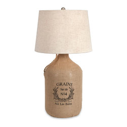 #N/A - Radburn Jute Wrapped Wine Jug Lamp - Radburn Jute Wrapped Wine Jug Lamp. With a flared linen drum shade and oversized wine jug body, this vintage style jute grain sack adds a French flair to any room.