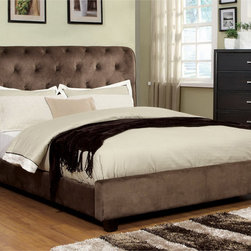 Furniture of America - Furniture of America Yani Tufted Modern Dark Brown Velvet Queen Platform Bed - An eclectic modern platform bed with dramatic tufted design will add a refreshing touch to any bedroom decor. Also luxurious, framed with great quality wood that ensures an everlasting comfort.