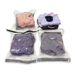 Sharper Image - Sharper Image  Travel Compression Bags - These convenient compression bags increase luggage space by up to 70 percent. Sturdy zip-lock seal ensures your clothes stay sealed no matter how rough the travel gets. Simply place your clothing in the bags and roll out any excess air.
