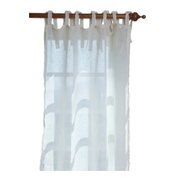 Taylor Linens - Ruffle Cream Linen Curtain Panel - Sheer linen edged with a 1/2-inch ruffle makes a sweet and simple curtain panel for your vintage country decor, adding just a touch of light-filtering softness. The old-fashioned cloth ties at the top let your curtain rod show, adding to the casual cottage look.