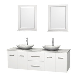 """Wyndham Collection - Centra 72"""" White Double Vanity, White Carrera Marble Top, Carrera Marble Sinks - Simplicity and elegance combine in the perfect lines of the Centra vanity by the Wyndham Collection. If cutting-edge contemporary design is your style then the Centra vanity is for you - modern, chic and built to last a lifetime. Available with green glass, pure white man-made stone, ivory marble or white carrera marble counters, with stunning vessel or undermount sink(s) and matching mirror(s). Featuring soft close door hinges, drawer glides, and meticulously finished with brushed chrome hardware. The attention to detail on this beautiful vanity is second to none."""