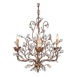 Currey & Company - Currey & Company Crystal Bud Chandelier, Small - While sparkling crystal buds dance among the foliage, meandering vines of Cupertino-finished wrought iron climb the lovely free form Crystal Bud Chandelier. This miniature nature-inspired fixture is perfect for embellishing smaller spaces.