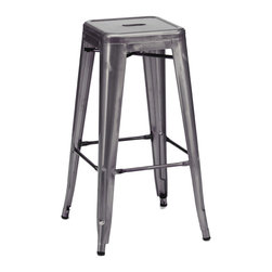 Design Lab MN - Amalfi Stackable Dark Gunmetal Steel Barstool Set of 4 - The amalfi steel stackable barstool is a fantastic designed barstool to add to any restaurant, bistro or coffee house. This barstool is produced in rolled steel which can withstand any high traffic area. It also can be stacked to save space if needed. Produced by Design Lab MN, this product is manufacturer to highest standards in the furniture industry.