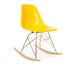 Vertigo Interiors - High Quality Eames Style RSR Rocking Side Chair, Yellow - The Eames Style RSR Rocking Side Chair has the iconic Eames style eiffel base paired with treated beech wood runners. Constructed of high quality polypropylene, the chair is durable, non-toxic and easy to clean. This chair is exceptionally comfortable and is perfect for nurseries and dining rooms alike.