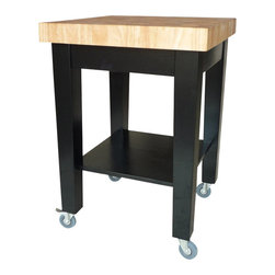 International Concepts - International Concepts Kitchen Island in Black/Natural - International Concepts - Kitchen Carts - WC192424