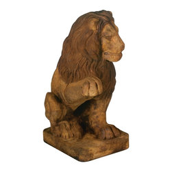 "Lamps Plus - Rustic - Lodge Henri Studio Lion (Right Paw Up) Garden Sculpture - A regal lion has been used in yard decor and garden sculpture designs for ages. This handsome fellow faces left with his right paw up and can be displayed alone or with his right-facing counterpart. Makes a majestic frame to a garden entry or a distinctive indoor sculpture. Relic lava finish. Cast stone construction. 15"" long. 9 1/2"" wide. 24"" high.  Cast stone construction.  Lion garden sculpture.  Custom made to order.  Relic lava finish.  Hand-made in the USA.  Custom made-to-order.  From Henri Studio.  Due to its hand-crafted nature each will vary slightly.  Please allow extra time for delivery.  24"" high.  15"" deep.  9 1/2"" wide."