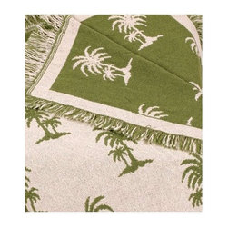 Avocado Castaway Green Palm Tree Afghan Throw Blanket - Is that a chill in the air? Here, you take the blanket. No, I insist: it's warm, reversible (should you care for green instead of ecru) and even made from sustainable cotton.