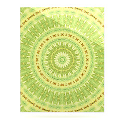 """Kess InHouse - Iris Lehnhardt """"Wheel of Spring"""" Circle Green Metal Luxe Panel (16"""" x 20"""") - Our luxe KESS InHouse art panels are the perfect addition to your super fab living room, dining room, bedroom or bathroom. Heck, we have customers that have them in their sunrooms. These items are the art equivalent to flat screens. They offer a bright splash of color in a sleek and elegant way. They are available in square and rectangle sizes. Comes with a shadow mount for an even sleeker finish. By infusing the dyes of the artwork directly onto specially coated metal panels, the artwork is extremely durable and will showcase the exceptional detail. Use them together to make large art installations or showcase them individually. Our KESS InHouse Art Panels will jump off your walls. We can't wait to see what our interior design savvy clients will come up with next."""