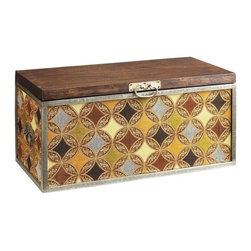Surat Trunk - You don't need less stuff — just more storage space! Named for India's diamond center, the Surat trunk is covered with a diamond-medallion pattern and accented with antiqued hardware.