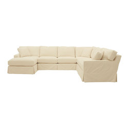 Ballard Designs - Graham 4-Piece Sectional with Left Arm Chaise and Right Arm Loveseat - Slipcover - With its tailored track arms and clean lines, our Graham 4-Piece Sectional with Left Arm Chaise, Right Arm Loveseat, Armless Loveseat and Corner Chair has a look you never tire of coming home to. Artisan crafted hardwood frames are made in the USA with mortise & tenon joints, corner blocks and double-doweled, screwed and glued for strength. Supportive foam core cushions are wrapped in soft poly-fiber and encased in luxurious down blend. Patented spring system assures years of comfortable wear. Choose one of our fabrics from our Stocked Collection, specially chosen because they work everywhere and mix with everything. You can also select one of our Made to Order fabrics or send us your own material. Graham Slipcovers are designed exclusively to fit our Graham seating and are required when ordering a Graham frame.Graham Slipcover Features:Custom fitted slipcovers prevent shifting and bunching. Strong, over-locking seams won't gap. Slipcovers remove easily for cleaning or a fresh change of seasonal color. Made in the USA