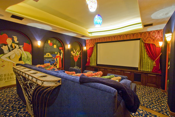 Eclectic Home Theater by Maraya Interior Design