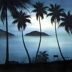 Oriental-Decor - Fog on the Water Oriental Painting - Asia is home to many tropical lands in which palm trees and oceans mark the landscape. This transcendent painting truly portrays a tropical beach in the haze of dawn. Hang it in any room for beautiful effect.