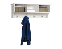 Prepac - Entryway Wall Mount Coat Rack w 3 Cubbies in - Includes easy to install two-piece hanging rail system. Three compartment. Warranty: Five years. Made from CARB-compliant, laminated composite woods. Made in North America. Assembly required. Internal: 14.25 in. W x 10 in. D x 8.75 in. H. Overall: 48 in. W x 11.5 in. D x 16.5 in. HKeep your gloves, hats, coats and jackets together where you need them with the Entryway Cubbie Shelf. Perfect for any front hallway, mudroom or home office, its three compartments have room for everything from mittens to schoolbooks. Four large hooks provide sturdy storage for your outerwear, scarves and tote bags. Install it easily with our innovative hanging rail system and get the versatile entryway piece you've been missing.