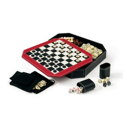 Mainstreet Classics - Octagon 5 in 1 Combo Game Set - Enjoy hours of fun playing chess, checkers, backgammon, dominoes, and poker dice. Leatherette storage case. Reversible cover with chess, checker, and backgammon play surfaces. Double reverse white stitching. Real wood chess pieces. Backgammon and checker playing pieces. Includes 2 leatherette dice cups and 3 drawstring bags for storage. Includes 1 backgammon doubling cube, 2 pair of dice, 1 set of double-six dominoes, 1 set of 5 poker dice, and instructions. Case dimensions: 12.75 in. L x 12.75 W x 2.125 HWith Mainstreet Classics, now you can rekindle family fun the way it was done on the main streets of America in years past. Main Street Classics packs traditional games into a unique stylish package you can show off to family and Friends. The Octagon 5-1 combo game showcases a beautiful black leatherette storage case with double reverse white stitching. The case features a reversable cover with an individually stitched checker board top and backgammon play surface on reverse side.