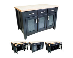 """Hardware Resources - Lyn Design Kitchen Island - Kitchen Island by Lyn Design. Featuring glass door inserts, soft-close undermount slides on drawers, soft-close European hinges, and fully adjustable shelves. 1-3/4"""" Maple Butcher Block Top Sold Separately (ISL01-TOP). DIMENSIONS: 52-1/2"""" x 32-1/2"""" x 35-1/2"""" FINISH: BLK: Black with 519-128SN hardware."""