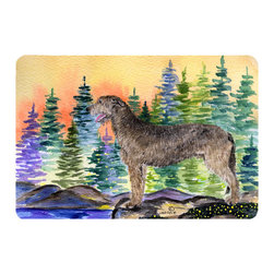 Caroline's Treasures - Irish Wolfhound Kitchen or Bath Mat 24 x 36 - Kitchen or Bath Comfort Floor Mat This mat is 24 inch by 36 inch. Comfort Mat / Carpet / Rug that is Made and Printed in the USA. A foam cushion is attached to the bottom of the mat for comfort when standing. The mat has been permanently dyed for moderate traffic. Durable and fade resistant. The back of the mat is rubber backed to keep the mat from slipping on a smooth floor. Use pressure and water from garden hose or power washer to clean the mat. Vacuuming only with the hard wood floor setting, as to not pull up the knap of the felt. Avoid soap or cleaner that produces suds when cleaning. It will be difficult to get the suds out of the mat.