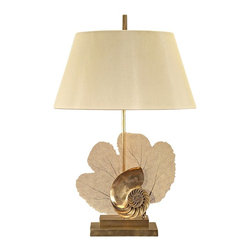 "John Richard - Contemporary John Richard Aquatus Brass Table Lamp - Expertly-crafted sea fern and conch shell sculptures sit atop a rectangular stepped base in this stunning brass table lamp. This remarkable look is topped with a soft French beige shade. A beautiful addition to your decor from John Richard lighting. Sophisticated sea-life sculptural table lamp. Solid brass construction. Polished and brushed brass finish. French beige shade. Takes one maximum 60 watt bulb or equivalent (not included). 29 1/2"" high. Shade is 13"" across the top 19"" across the bottom and 10"" high.   Sophisticated sea-life sculptural table lamp.  Solid brass construction.  Polished and brushed brass finish.  French beige shade.  Takes one maximum 60 watt bulb or equivalent (not included).  29 1/2"" high.  Shade is 13"" across the top 19"" across the bottom and 10"" high."