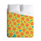 DENY Designs - Sharon Turner Sunflower Field Duvet Cover - Turn your basic, boring down comforter into the super stylish focal point of your bedroom. Our Luxe Duvet is made from a heavy-weight luxurious woven polyester with a 50% cotton/50% polyester cream bottom. It also includes a hidden zipper with interior corner ties to secure your comforter. It's comfy, fade-resistant, and custom printed for each and every customer.