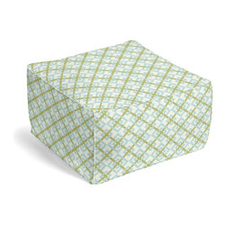 Aqua & Green Diamond Lattice Custom Pouf - The Square Pouf is the hottest thing in decor since the sectional sofa. This bean bag meets Moroccan style ottoman does triple duty as a comfy extra seat, fashion-forward footstool, or part-time occasional table.  We love it in this bright aqua & grass green geometric on a smooth sateen cotton. this interlocking diamond pattern will fit any modern decor.  is this duck or sateen?
