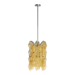 Kathy Kuo Home - Boho Modern Retro Deco Amber Diamond Drop 4 Light Pendant - * 23.25 inches high x 13 inches wide