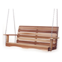 """All Things Cedar - 4ft. PORCH Swing - Handcrafted from clear grade Western Red Cedar our Swing features a well balanced Contemporary design. Ships complete with 24 feet of 3/16"""" Heavy Duty Suspension Chain and all the related hardware to have you up and swinging in no time. Item is made to order."""