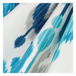Blue & Aqua Ikat Outdoor Fabric - Oversized outdoor ikat that will make a big (literally!) splash in clean, bright shades of blue, aqua & gray.Recover your chair. Upholster a wall. Create a framed piece of art. Sew your own home accent. Whatever your decorating project, Loom's gorgeous, designer fabrics by the yard are up to the challenge!