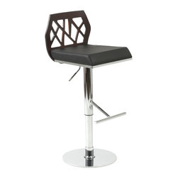 Eurostyle - Sophia Bar/Counter Stool-Wenge/Chrome/Black - Take the chill out of modern with rich tones and comfort in mind. The faux leather seat of this stool is amply cushioned and chic, while the stylized cutout design adds interest and provides necessary support for your back.