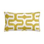 "Cushion Source - Chartreuse Geometric Lumbar Pillow - The 20"" x 12"" Chartreuse Geometric Lumbar Pillow features a mod geometric yellow-green print on a white background."